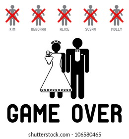 Funny wedding symbols - Game Over