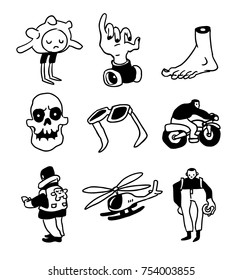 Funny weird characters and doodle collection. Vector illustration.