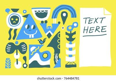 Funny weird doodles background, leaflet, brochure design. Vector illustration.