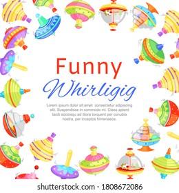 funny whirligig, banner inscription, toy background, plastic spinning turntables kids, design cartoon style vector illustration. Fun game for children, playground, joyful childhood, pleasant leisure.