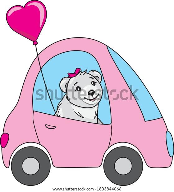 funny-white-bear-drives-car-600w-1803844