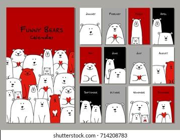 Funny white bears family. Design calendar 2018 Vector illustration
