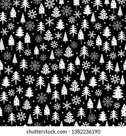 Funny White Christmas Tree and Snow Flakes Vector Pattern. Black and White Irregular Design with Abstract Trees and Dots. Simple Infantile Christmas Illustrations. Lovely Winter Forest Vector Art.