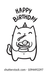 Funny white fat cat holding Happy Birthday cake with strawberry on top. Adorable doodle animal. Domestic pet character for your holiday card design. Image for invitation or greeting postcard