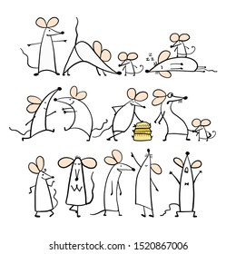 Funny white mouse family, symbol of 2020 year. Banner for your design. Vector illustration