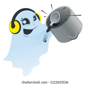 Funny white spook knocking ladle on pan. Isolated vector illustration