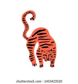 Funny wild cat tiger. Cute kids print for t-shirt. Vector illustration editable