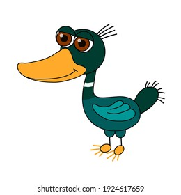 Funny wild duck stands. Character in flat style isolated white background. Duck in bright colors, with a large head. Vector illustration.