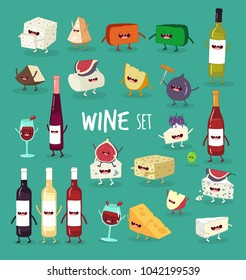 Funny wine illustrations set. Alcohol bottles and cheese cartoon characters. Color cute happy smiling cheese pieces, wineglasses and bottles.