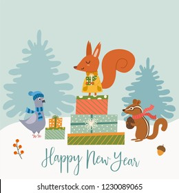 Funny winter card with a cartoon squirrel, dove, chipmunk and gifts. Vector illustration with text. New Year's poster.