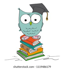 Funny wise owl standing on the pile of books with graduation cap on its hat and shoes on its feet - original hand drawn illustration