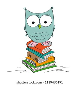 Funny wise owl standing on the pile of books wearing shoes - original hand drawn illustration