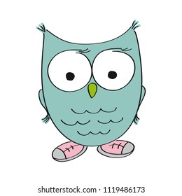 Funny wise owl wearing shoes - original hand drawn illustration