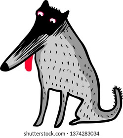 Funny wolf cartoon vector illustration