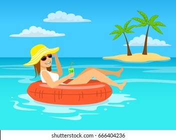 funny woman with cocktail relaxing floating on inflatable inner ring in tropical ocean water, happy summer vacations vector illustration