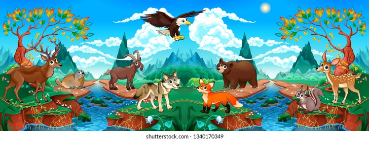Funny wood animals in a mountain landscape with river. Vector cartoon illustration