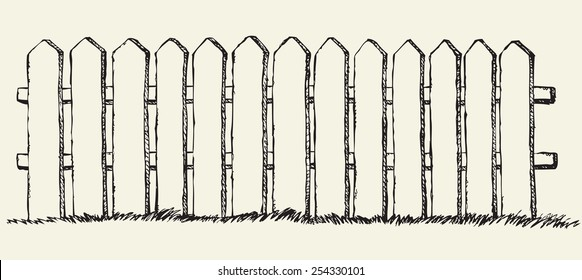 Funny wooden fence from flat slats, painted with white paint, enclosing garden with lush grass. Vector freehand ink drawn backdrop sketchy in scrawl antiquity style of pen on paper with space for text