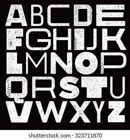 Funny woodprinted font with mixed letters. Handmade type with the texture
