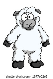 Funny woolly cartoon sheep standing up on its hind legs looking at the viewer isolated on white