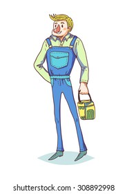 Funny working character. Isolated vector character.