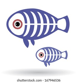 Funny X-ray fish on a white background. vector