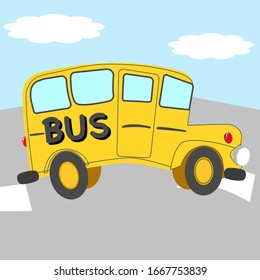Funny yellow bus on the street with light blue sky background, vehicle, school, transportation