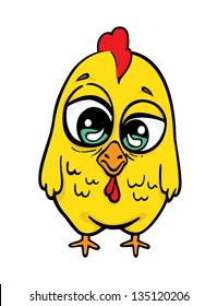 Funny yellow crazy chicken.