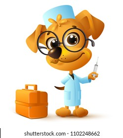 Funny yellow dog doctor vet holding injector. Isolated on white vector cartoon illustration