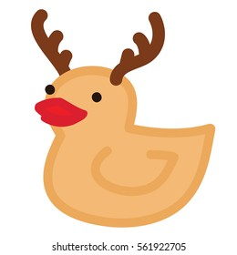 Funny yellow duck raindeer with red nose and horns, Christmas character