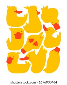 Funny yellow ducks vector print isolated on white. Rectangle shape illustration with cartoon birds.