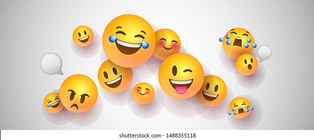 Funny yellow emoticons in realistic 3d style on isolated white background. Social chat icons include text bubble, happy, cute and sad emotions.