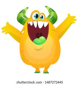 Funny yellow fat  cartoon monster . Vector illustration
