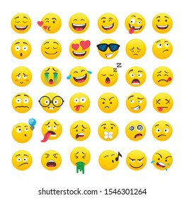 Funny yellow round emoji vector icons set. Various funny faces for different mood and emotions expression. Cute social media emoticons for chatting pack. Creative comic stickers collection