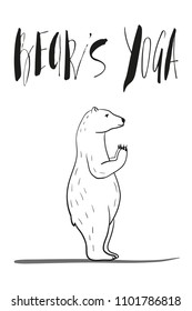 funny yoga with polar bear, fitness white bears, yoga poses, Surya Namaskara meditation. Ashtanga vinyasa yoga poses