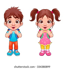 Funny young boy and girl students. Vector cartoon isolated characters.