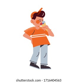 The funny young boy in an orange t-shirt eating ice cream. Vector illustration in the flat cartoon style.