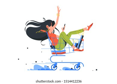 Funny young girl rides shopping cart after order complete. Isolated concept happy woman character buys things in online store using smartphone. Vector illustration.
