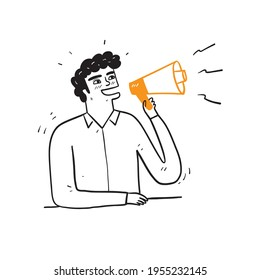 Funny young man isolated people sincere emotions lifestyle concept. Screaming in megaphone, Hand drawn Vector Illustration doodle style
