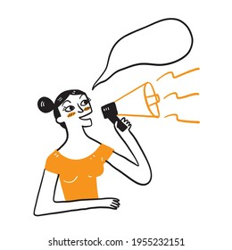Funny young woman isolated people sincere emotions lifestyle concept. Screaming in megaphone, Hand drawn Vector Illustration doodle style