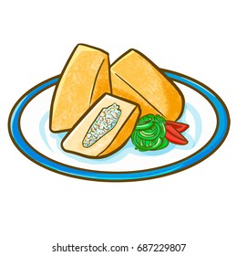 "Funny and yummy cute Indonesian tofu or ""Tahu Isi"". Tofu filled with meat and vegetables - vector."
