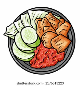 "Funny and yummy ""Empal Goreng Sambel"", a traditional beef cuisine from center of Java, Indonesia - vector"