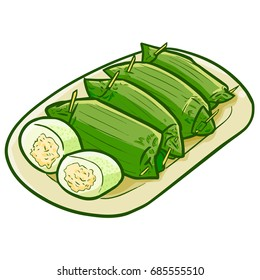 "Funny and yummy Indonesian snack conservative / classic ""Lemper"", a cooked rice with chicken inside, wrapped with banana leaves - vector."