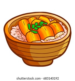 Funny and yummy roasted eel with rice in a bowl - vector.