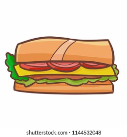Funny and yummy sandwich in cartoon style - vector