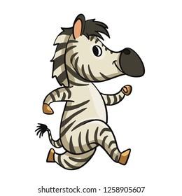 Funny zebra running cartoon