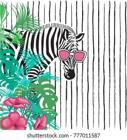 funny zebra in sunglasses in tropical leaves on a striped background, blank space for your inscription, vector illustration
