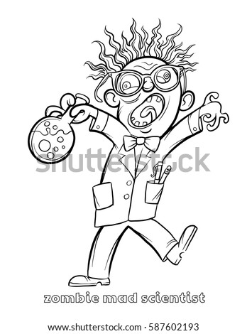 Funny Zombie Mad Scientist Coloring Page Stock Vector Royalty Free