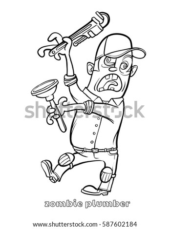 funny zombie plumber coloring page vector illustration