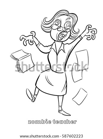 Funny Zombie Teacher Coloring Page Vector Stock Vector Royalty Free