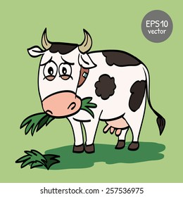 funny-cow chewing-grass